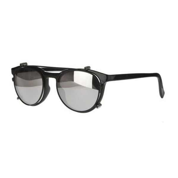 black mirrored round reading glasses with sun clip