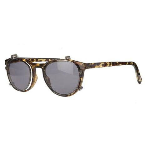 tortoiseshell round reading glasses with sun clip