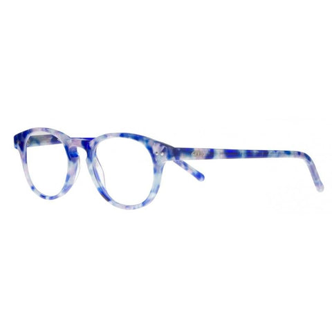 blue round reading glasses