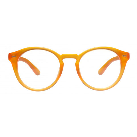 orange round reading glasses