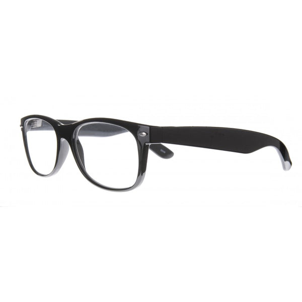 gloss black wayfarer styled reading glasses