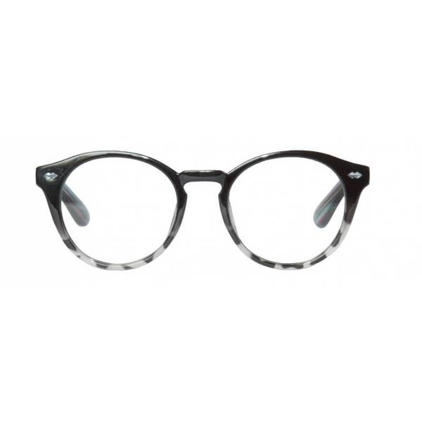 grey round reading glasses