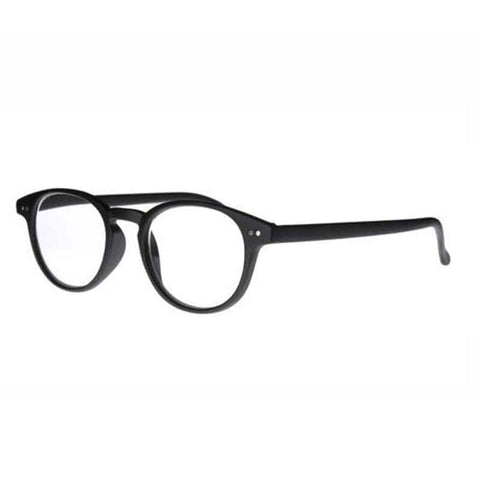 matt black classic round reading glasses