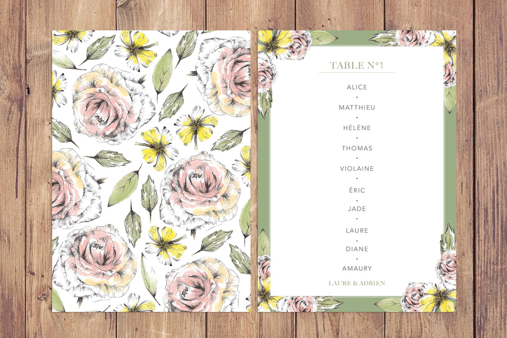 Plan de Table Flore Sauvage