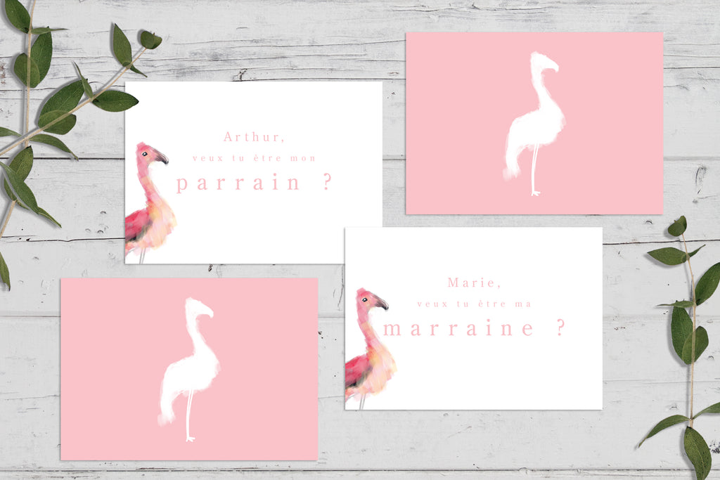 Cartes Parrain / Marraine Flamingo