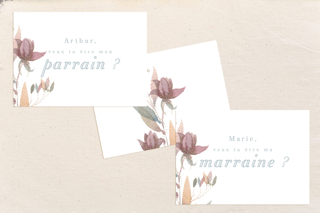 Cartes Parrain / Marraine Lady Flower