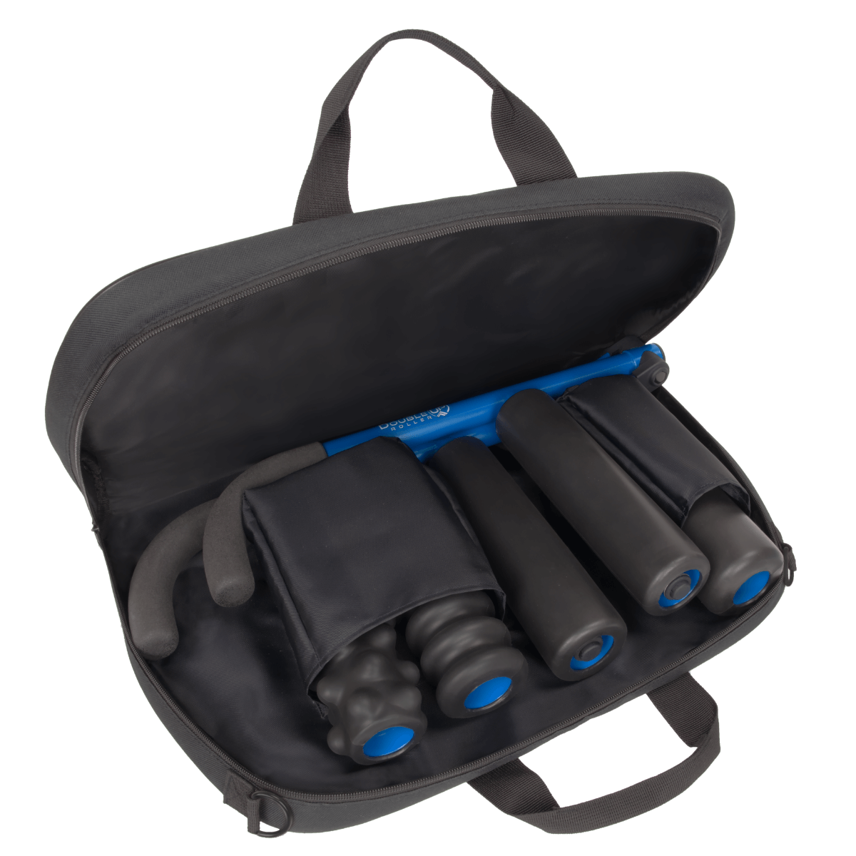 DoubleUP premium padded carrying bag inside view with pockets, frame, and rollers