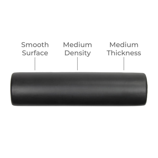 TuneUP smooth medium-density foam roller for use with DoubleUP frame.  Straight perspective with notes on smooth surface, medium density and medium thickness.