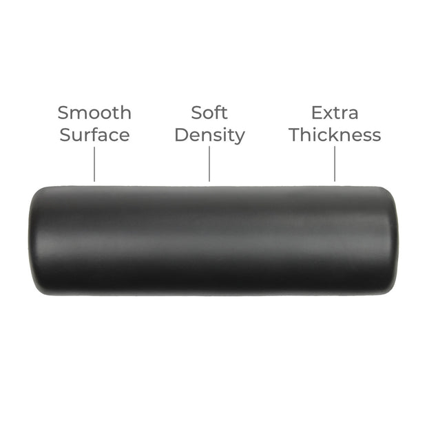 WarmUP smooth soft-density foam roller for use with DoubleUP frame.  Straight perspective with notes on smooth surface, soft density and extra thickness.