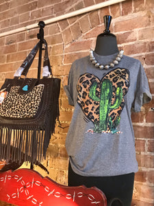 Cactus with Leopard Heart T-shirt