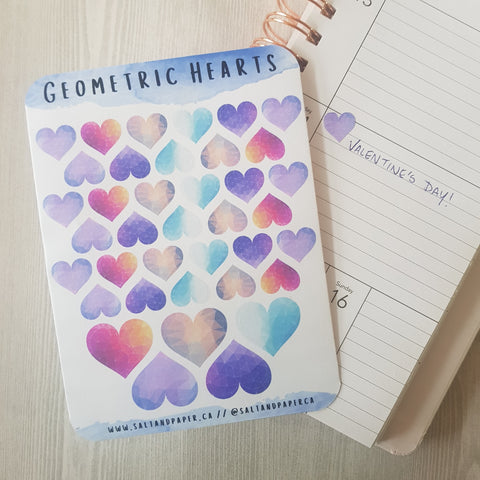 Geometric Heart Planner Stickers