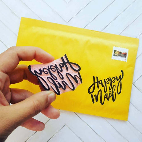 Cursive Happy Mail Stamp | Salt & Paper