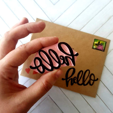 Hand Lettered Hello Stamp | Salt & Paper