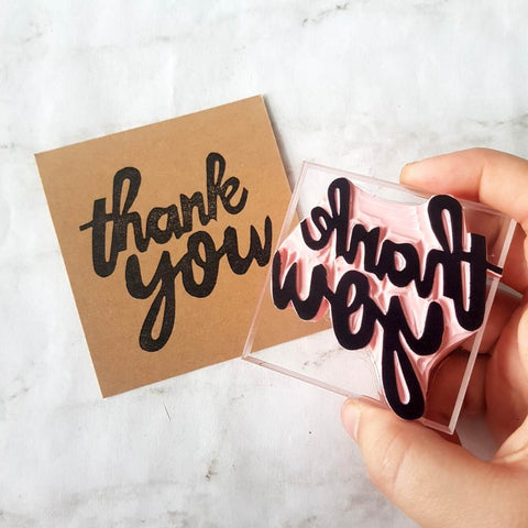 Hand Lettered Thank You Stamp | Salt & Paper
