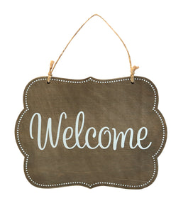 Wood Plaque with Jute, Welcome