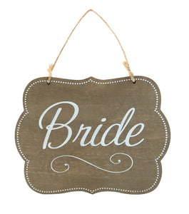 Wood Plaque with Jute, Bride
