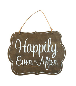 Wood Plaque with Jute, Happily Ever After