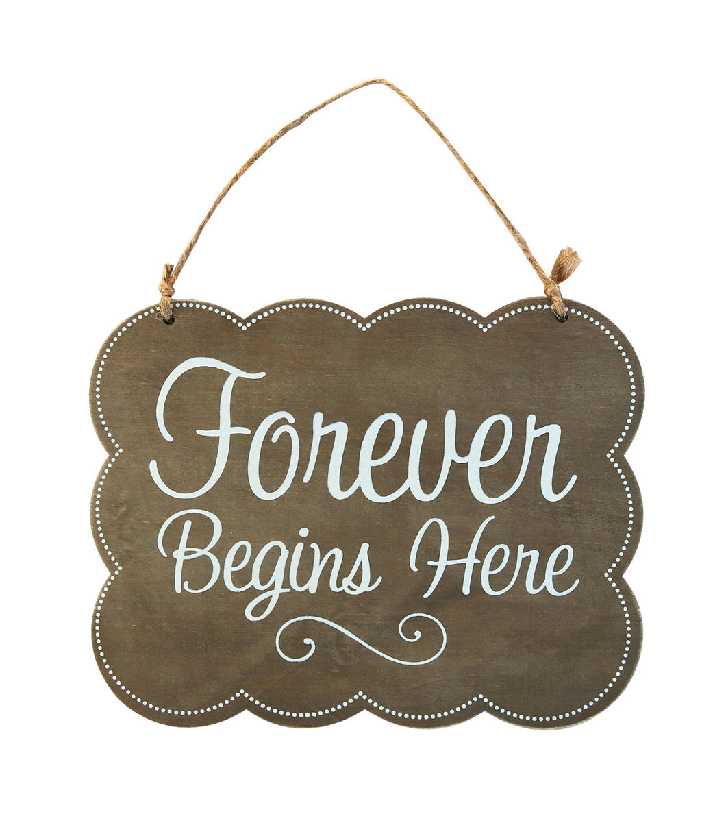 Wood Plaque with Jute, Forever Begins Here