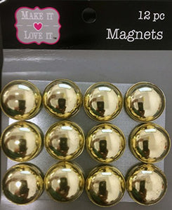 Button Style Refrigerator or Whiteboard Magnet Set/12 (Gold)