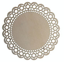 Laser Cut Wood Plaque Round Circle Lace