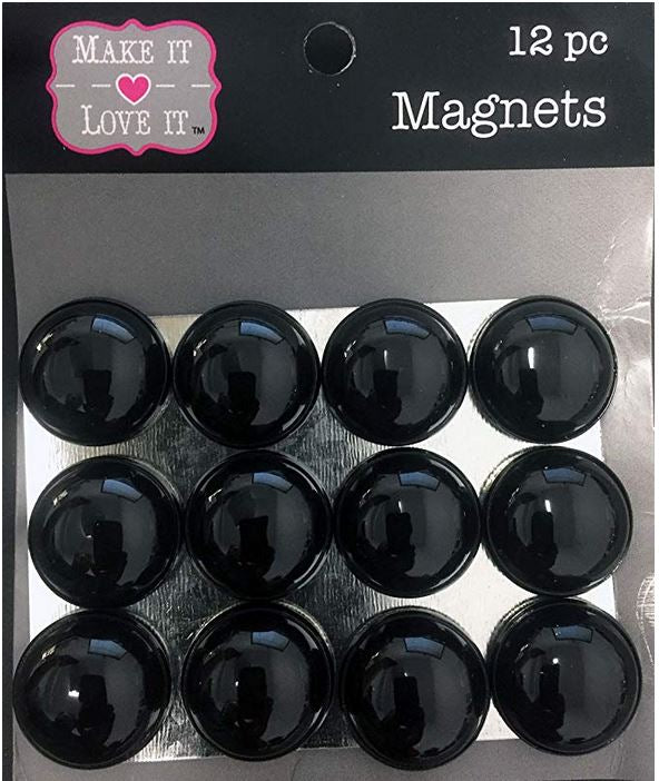 Button Style Refrigerator or Whiteboard Magnet Set/12 (Black)