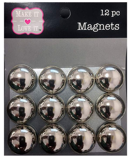 Button Style Refrigerator or Whiteboard Magnet Set/12 (Galvanized)