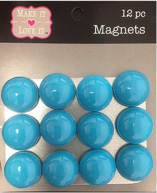 Button Style Refrigerator or Whiteboard Magnet Set/12 (Turquoise)