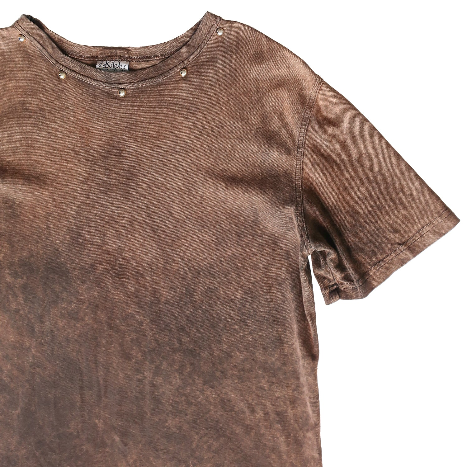 Second Room Vintage Clothing. Vintage short sleeve, brown acid washed t-shirt with silver metal studs along the front of the neckline. Free Shipping on all orders within North America.