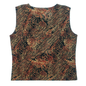 Second Room Vintage Clothing. Vintage sleeveless stretchy crew neck tank top with abstract animal print design in brown and black. Free Shipping on all orders within North America.