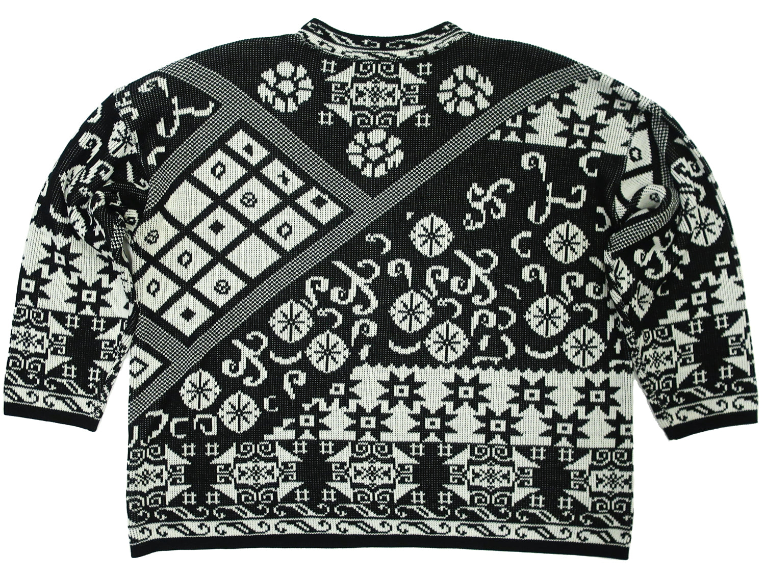 Second Room Vintage Clothing. Vintage oversize boxy crew neck sweater, with abstract print of florals, stars and swirls. Free North American shipping on all orders.
