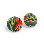 "Second Room Vintage Clothing. Vintage pattern fabric covered button stud earrings, in red, green, yellow and black; 1-1/8"" across. Original earring backs have been replaced with new, clear silicone backings. Free North American shipping on all orders."