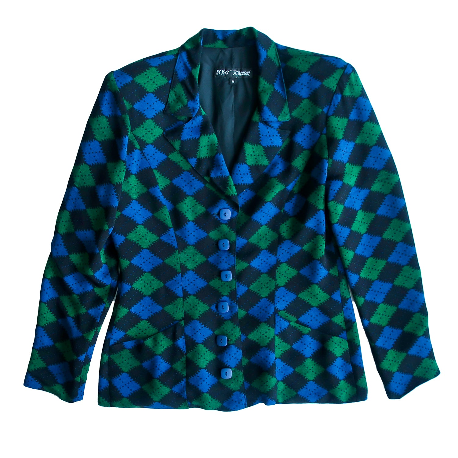 Second Room Shop Vintage. Shop vintage, shop sustainable. Amazing vintage 90s Betsey Johnson, light weight argyle blazer. This jacket has a gorgeous argyle pattern in green, blue and black, with square buttons up the front, and two front pockets. It is fully lined, with shoulder pads, and two decorative buttons at each cuff. This jacket is in perfect condition, and has already been professionally dry cleaned, and is ready to wear. Made in the USA.