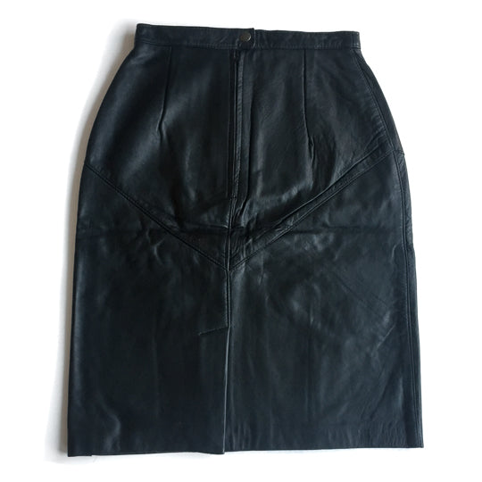 "Second Room Shop Vintage. Shop vintage, shop sustainable. Seriously the softest leather skirt I've ever laid my hands on. Fully lined, zipper and snap closure at back, with 6"" middle back slit, and gorgeous seaming details."