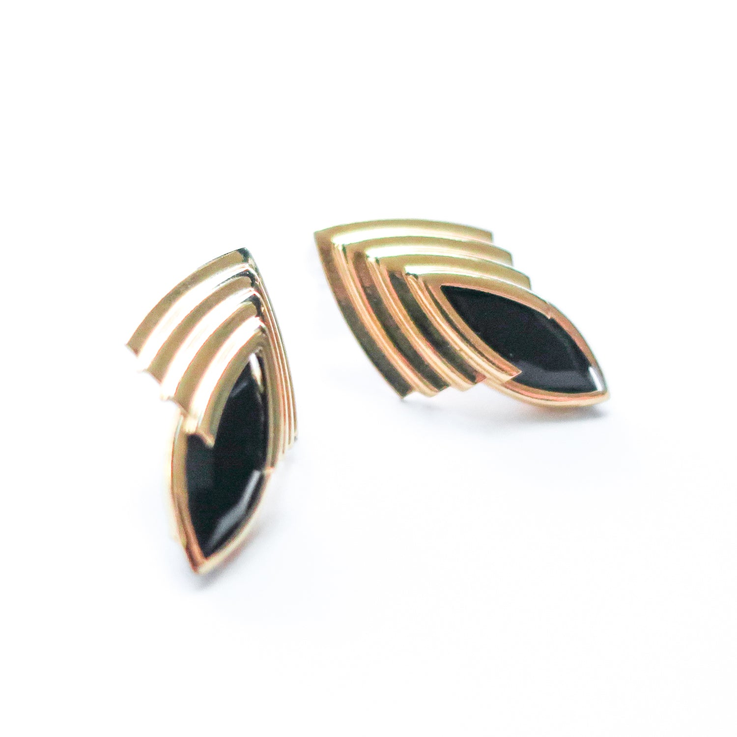 "Second Room Vintage Clothing. Vintage black and gold tone art deco style earrings; 1/2"" wide and 1"" tall. Original earring backs have been replaced with new, clear silicone backings. Free North American shipping on all orders."
