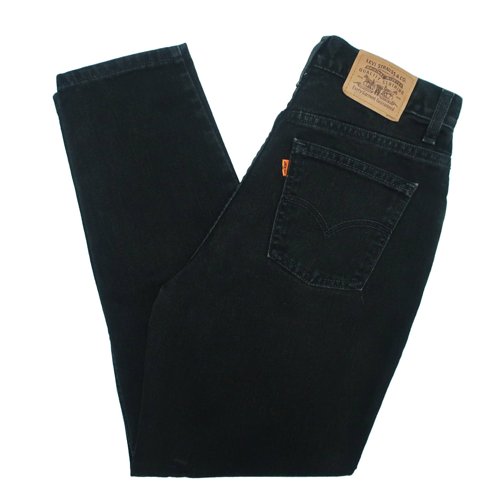 "Second Room Vintage Clothing. Vintage high waisted, black orange tab taper leg Levis mom jeans, with five pockets, zipper fly and button, 11.75"" rise and 5.75"" ankle opening. Free North American shipping on all orders."