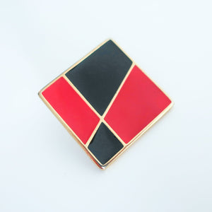 "Second Room Vintage Clothing. Vintage gold tone square stud earrings, with black and red geometric enamel design. These earrings are 1"" square. Original earring backs have been replaced with new, clear silicone backings. Free North American shipping on all orders."