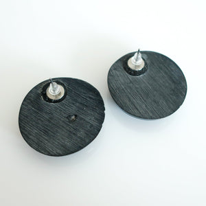 "Second Room Vintage Clothing. Vintage glossy black painted wood round stud earrings, that look hand crafted and are not perfectly symmetrical. Earrings are approximately 1.5"" across. Original earring backs have been replaced with new, clear silicone backings. Free North American shipping on all orders."