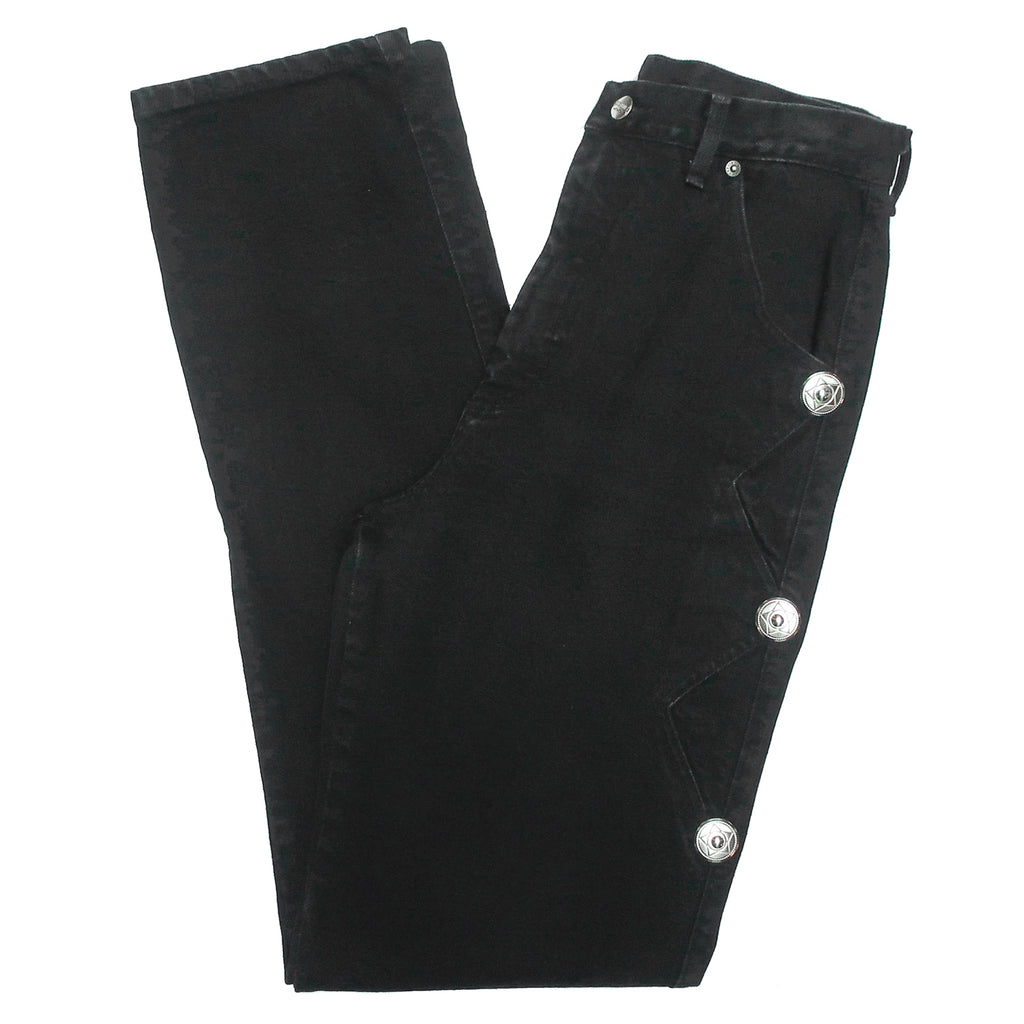 Second Room Vintage Clothing. Vintage black high waisted Roughrider by Circle T jeans, with silver stud details on the sides. Two front pockets, no back pockets, zipper fly and silver button closure, and belt loops. Free North American shipping on all orders.