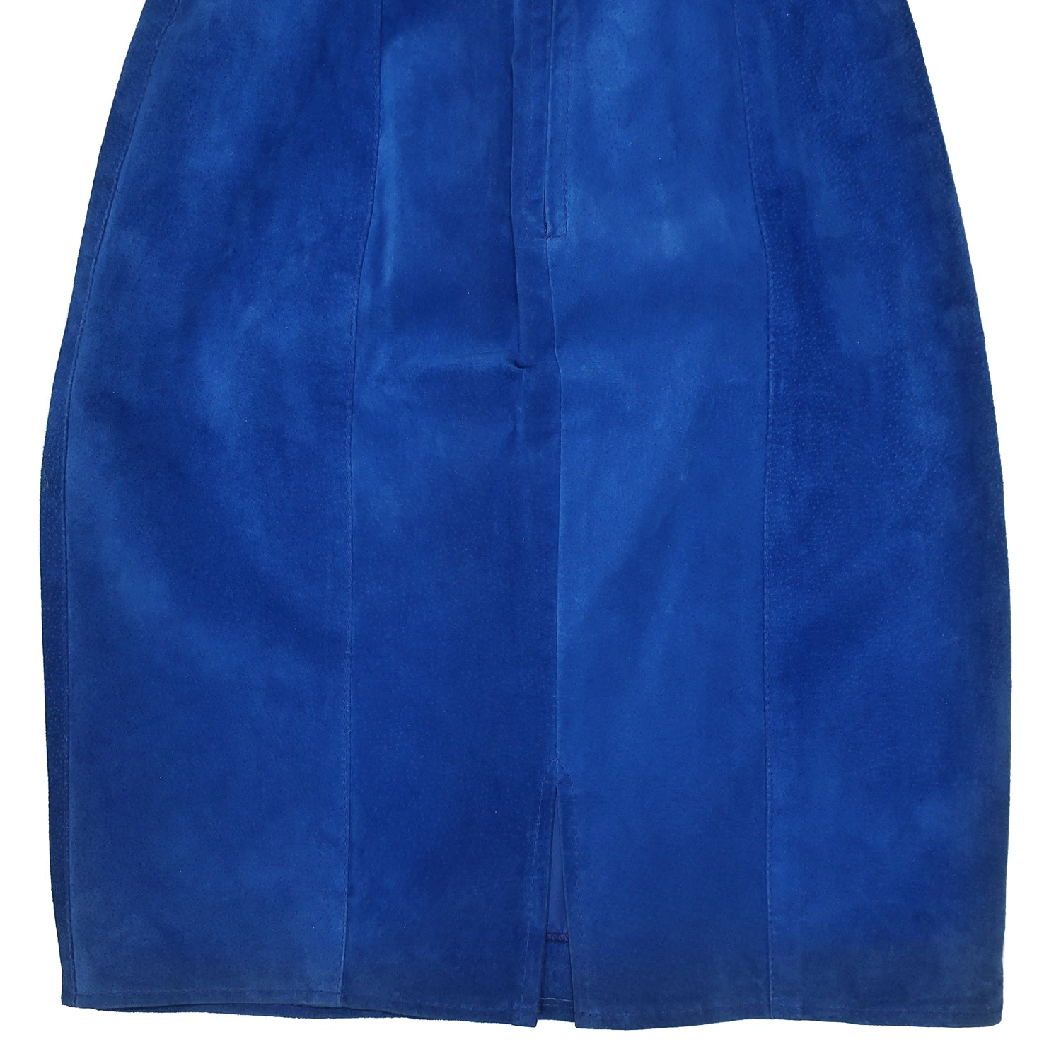 Second Room Vintage Clothing. Vintage bright blue, high waisted suede skirt. This skirt is fully lined, with snap and zipper at the back, and middle back slit. Free North American shipping on all orders.