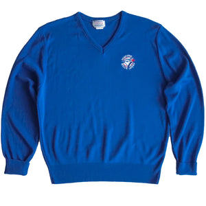 Second Room Vintage Clothing. Vintage bright blue v-neck Toronto Blue Jays sweater.  Free North American shipping on all orders.