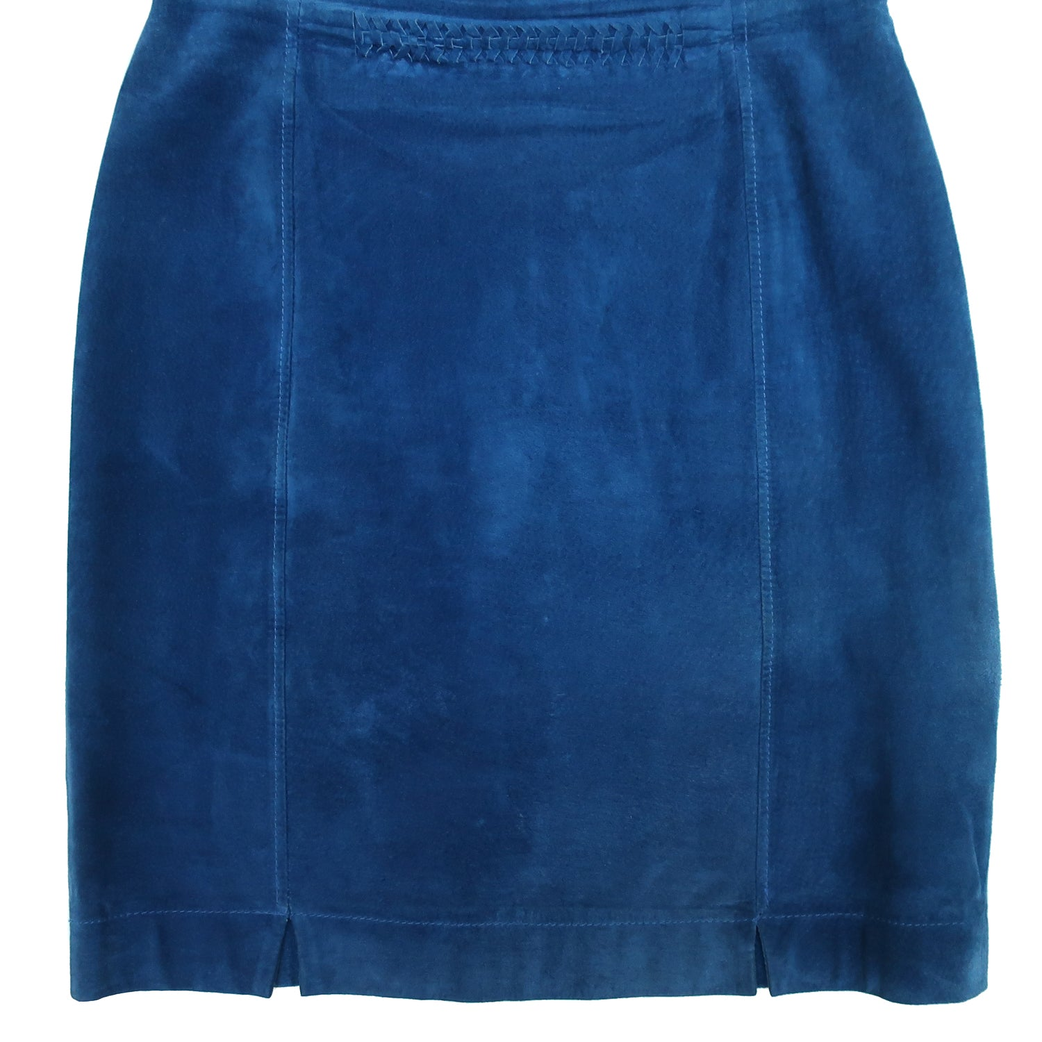 Second Room Vintage Clothing. Check out this amazing dark blue suede mini/above the knee high waisted skirt, with braided detail at the waist. It is fully lined, with two front slits, small back slit, and a back zipper with hook and eye closure. Free North American shipping on all orders.
