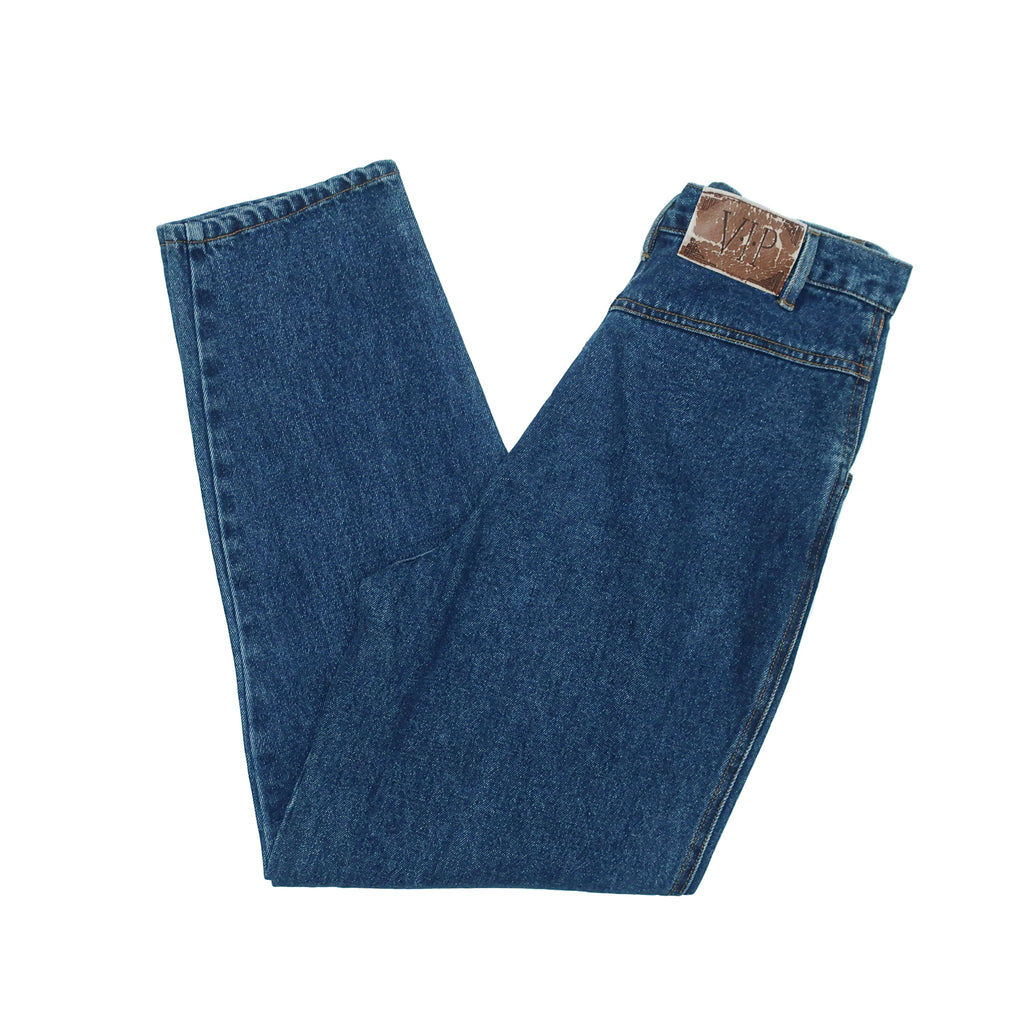 "Second Room Vintage Clothing. Vintage dark blue denim VIP mom jeans, with pleated front, belt loops, two front pockets, no back pockets, roomy fit in the legs, with 13"" rise, zipper fly and 7"" ankle opening. Free North American shipping on all orders."