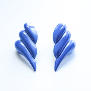"Second Room Vintage Clothing. Vintage blue puffy wing shaped enamel earrings; 0.5"" wide, 1.25"" tall. Original earring backs have been replaced with new, clear silicone backs. Free North American shipping on all orders."
