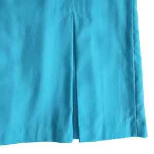 Second Room Vintage Clothing. Vintage bright blue wool skirt, with box pleat details. High waist, midi length, fully lined with side zipper and button. Free North American shipping on all orders.