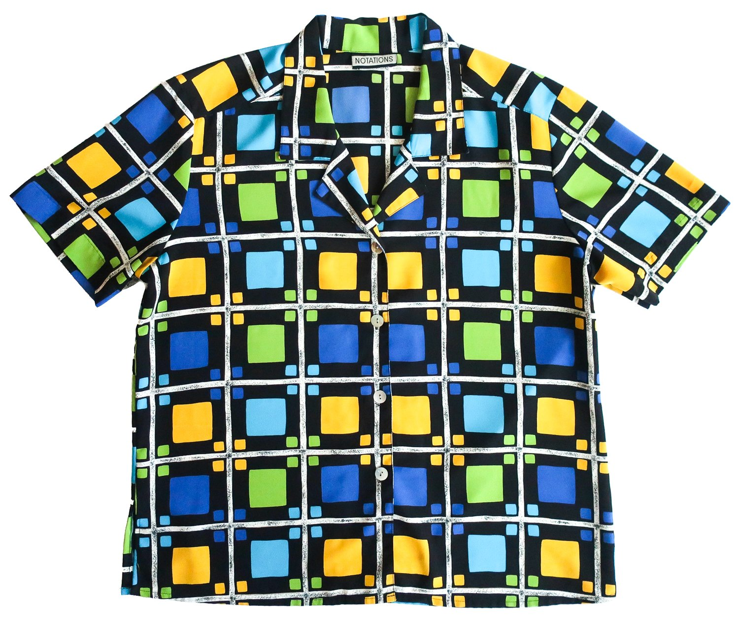 Second Room Vintage Clothing. Vintage short sleeve, blue, yellow and black bowler style blouse, with checker pattern, white shell buttons (no top button), and no shoulder pads. Free Shipping on all orders within North America.