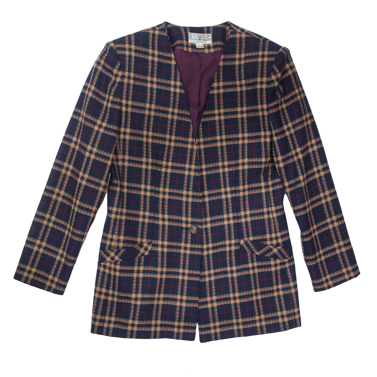 Second Room Vintage Clothing. Vintage navy blue, brown and burgundy wool blazer, with one button closure, and sewn in shoulder pads. This blazer is fully lined, with two front pockets, and looks amazing belted! Free North American shipping on all orders.