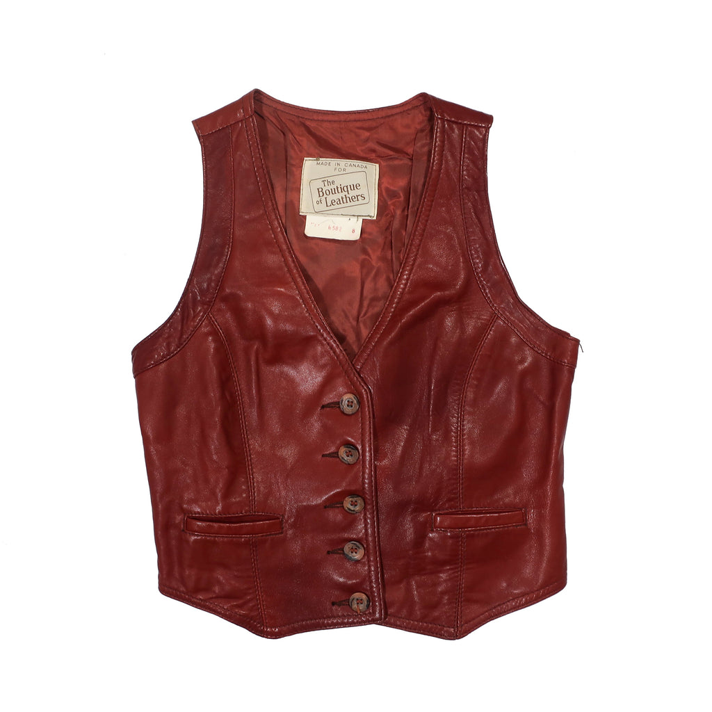 Second Room Vintage Clothing. Vintage rich mahogany brown fitted leather button up vest, fully lined, with two small pockets in the front, and cinching belt in the back. Free Shipping on all orders within North America.