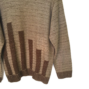 Second Room Shop Vintage. Shop vintage, shop sustainable. Vintage brown crewneck sweater with dark brown blocks pattern.