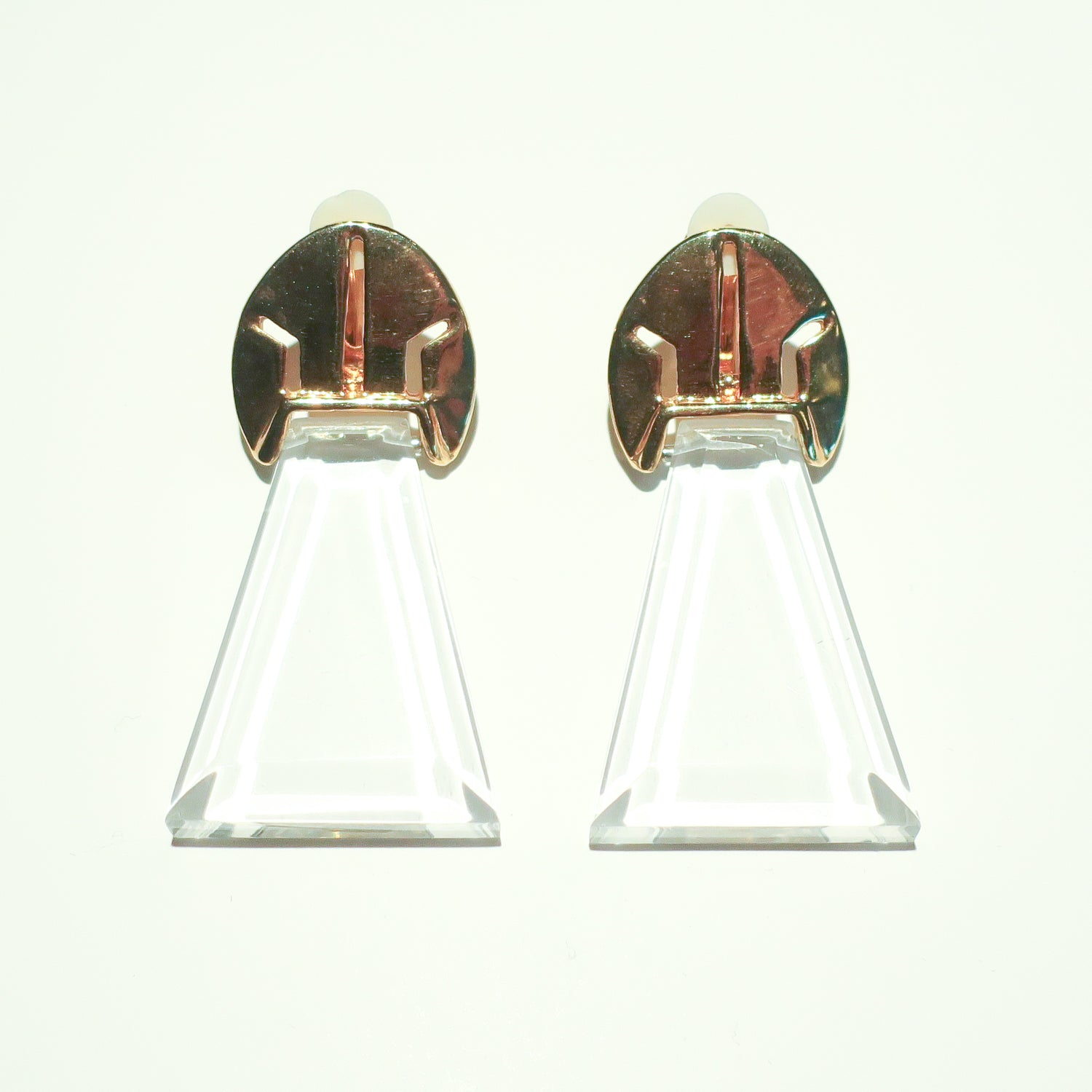 "Second Room Vintage Clothing. Vintage gold tone and clear lucite clip on earrings, 1.25"" across and 2.5"" long. These earrings make an amazing statement, with their chandelier glass look! Free North American shipping on all orders."