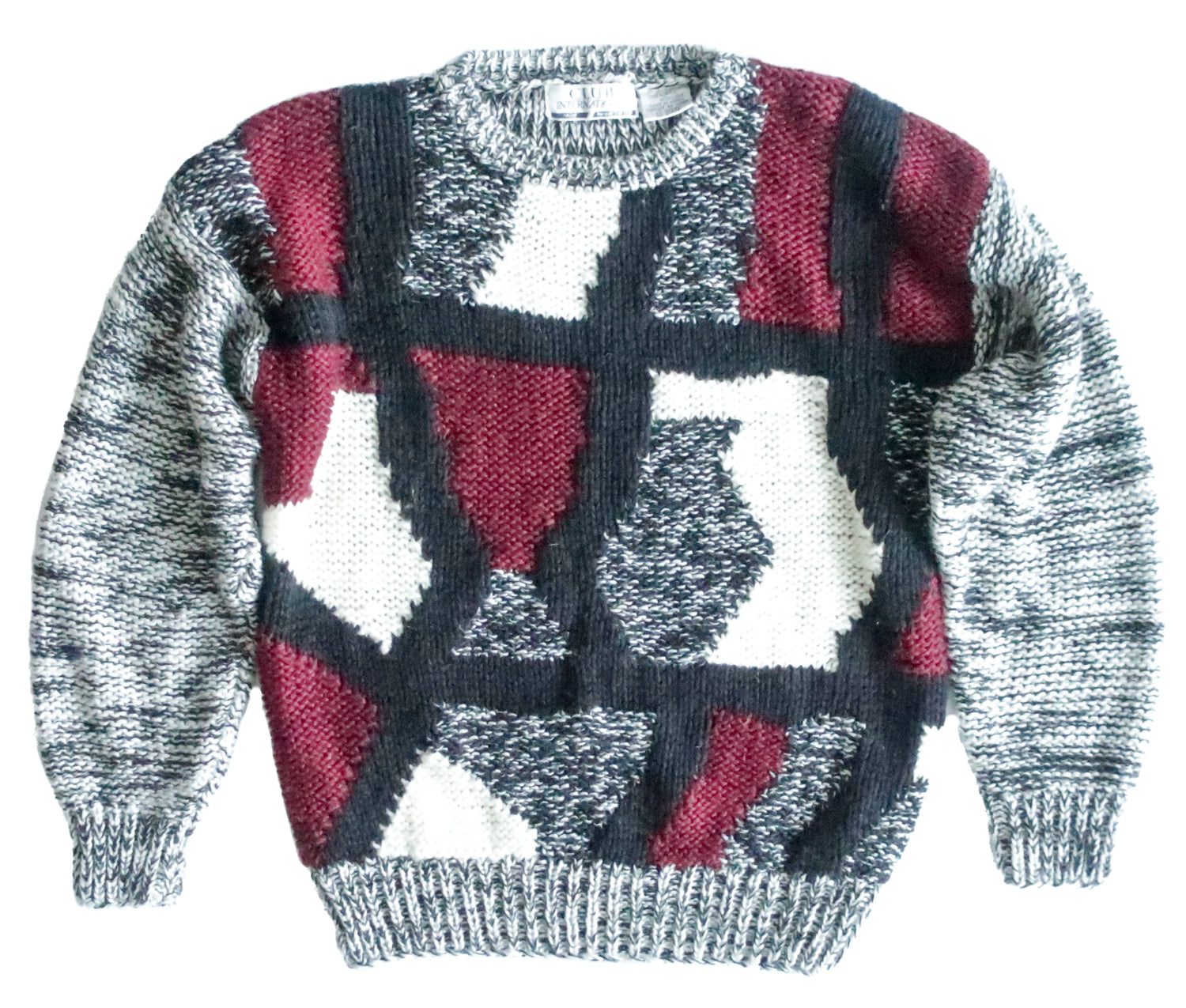 Second Room Vintage Clothing. Vintage crewneck sweater with abstract black, white, grey and burgundy pattern on the front, back and sleeves are plain grey. Free North American shipping on all orders.